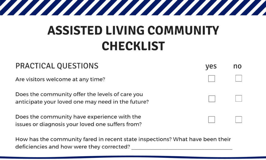 snapshot of our Choosing a Community checklist